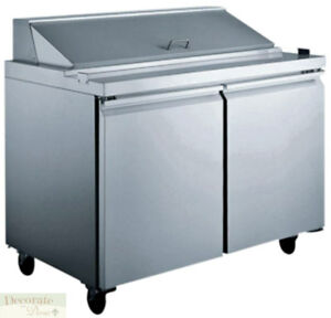 Salad Sandwich Prep Table 60 Refrigerated 2 Door 24 Pans 13 Cu Ft Stainless New