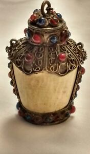 Vtg Antique Opium Snuff Bottle Bone And Brass With Multi Colored Glass Gems