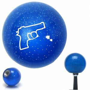 White Gun Outline Blue Metal Flake Shift Knob Accessories Racing Matchless
