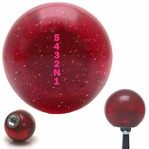 Pink 5432n1 Shift Pattern Red Metal Flake Shift Knob With 16mm X 1 5 Insert Gear