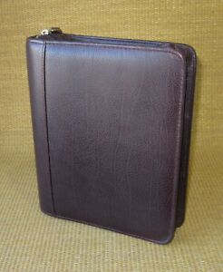 Classic 2 Huge Rings Wow Burgundy Leather Franklin Covey Zip Planner binder