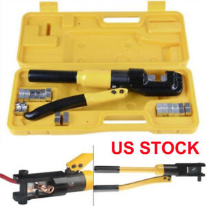 Terminal Crimper Hydraulic Wire Battery Cable Lug Crimping Tool W dies 16 Ton