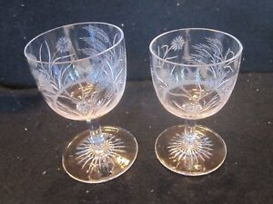 Lot 2 Antique Victorian 19th C Engraved Glass Rummer Wine Port Flowers Wheat
