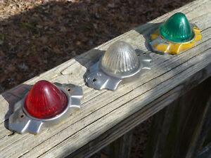 Antique Vintage Art Deco Car Auto Green Clear Red Stop Tail Lights