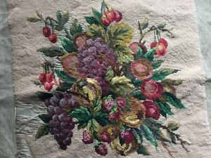 Antique Vtg Needlepoint Embroidered Panel Fruit Cherry Xviiie Siecle France