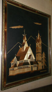 Vintage Inlaid Wood Marquetry Picture Buildings Framed From Jelenia Gora Poland