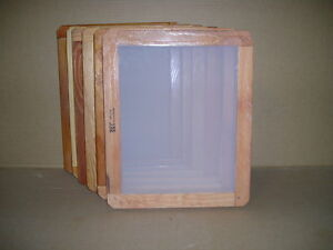 Screen Printing Frames box Of 6 14 X 17 re cycled Wood With 155 White Mesh