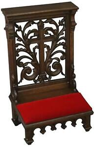 Prayer Chair Religious Antique French 1890 Oak Carved Prie Dieu Red Velve