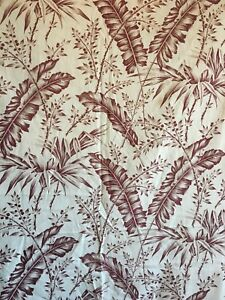 Beautiful 19th C French Cotton Floral Leaf Toile Fabric 2567