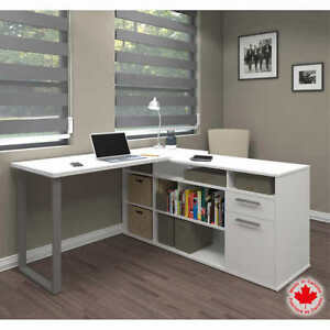 Bestar s Solay Contemporary L shaped Desk Workstation White