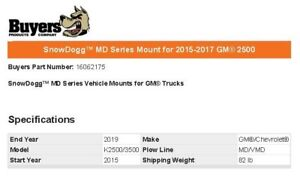 Snowdogg 16062175 Md Series Mount For 2015 2017 Gm 2500
