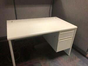 48 w X 30 d Single Pedestal Metal Desk By Hon Office Furniture W Laminate Top