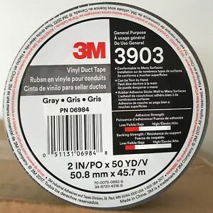 4 Rolls 3m Vinyl Duct Tape Gray 2 inch X 50 Yards 3903 New