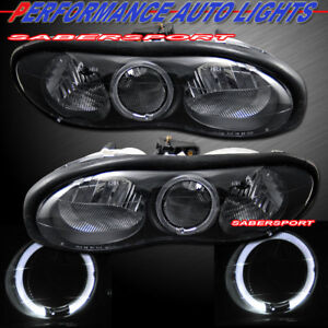 Pair Euro Clear Black Headlights W Halo Rim For For 1998 2002 Chevrolet Camaro