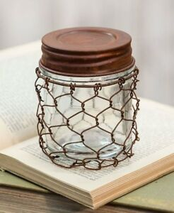Vintage Style Rustic Small Glass Jar W Lid In Rusty Chicken Wire Holder Basket