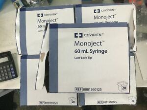 5 Boxes Covidien 8881560125 60ml cc Syringe Only Leur Lock Ti