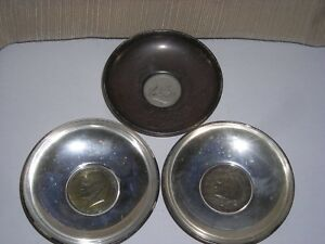 3 B M Sterling Silver Dishes With American Silver Coins