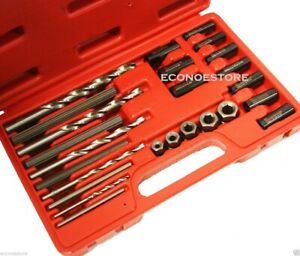 New 25pc Screw Extractor Drill Guide Remove Broken Screws Bolts Fasteners Set