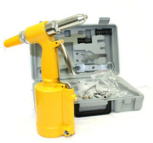 Pneumatic Air Hydraulic Pop Rivet Gun Riveter Riveting Tool Kit W Case
