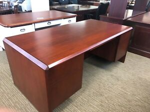 Executive Desk By Kimball Office Furniture In Cherry Color Wood
