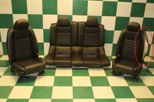 dmg 10 14 Mustang Coupe Black Leather Power Driver Rear Bench Mustang Seat Set