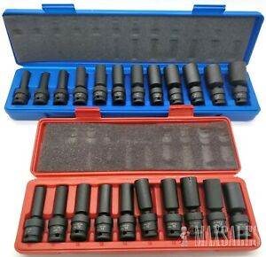 22pc 3 8 Drive Universal Ball Swivel Deep Impact Socket Set Sae Metric