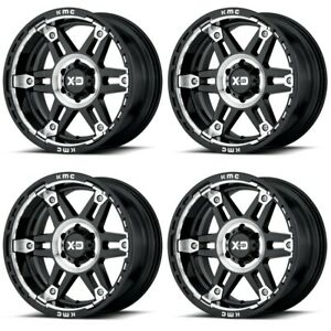 Set 4 17 Xd Series Spy 2 Xd840 17x8 6x120 18mm Black Machined Truck Wheels