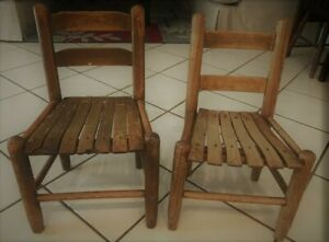Vintage Rustic Childs Wood Slat School Chairs