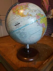 Vtg 9 Diameter Desk Globe Replogle World Scholar Wood Base Raised Terrain