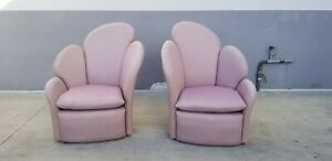Unusual 70 S Art Deco Revival Fan Back Lounge Chairs Wow