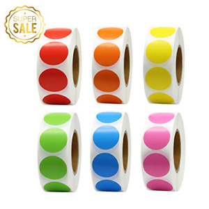 Hcode 1 Inch Color Coding Label Garage Sale Stickers Blank Yard Sale Price Round
