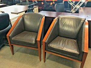 Lot Of 2 Club Guest Chairs By Hickory Business Furniture In Brown Leather