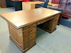 Traditional Style Executive Desk By Kimball Office Furn In Walnut Color Wood