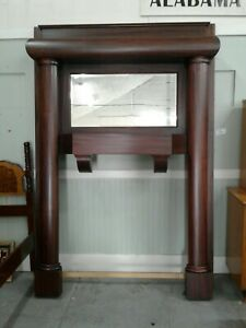 Mahogany Fireplace Mantel Antique Large With Full Columns Beveled Mirror