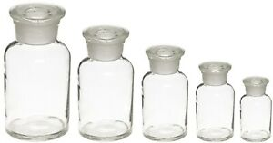 Glass Reagent Bottles Apothecary Style 5 Jar Set 60 125 250 500 1000ml