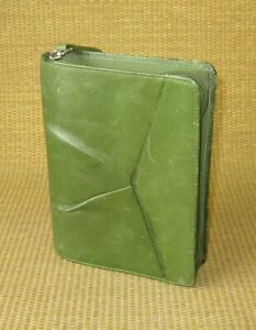 Pocket 1 Rings Green Unstructured Leather Franklin Covey Zip Planner binder