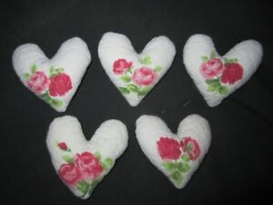Primitive Valentine Heart Bowl Fillers White Quilt With Flowers Set Of 5