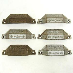 Set Of 6 Antique Cast Iron Cup Bin Drawer Pull Diamond Pattern Silver Paint Vtg