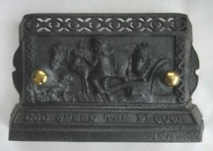 Antique Cast Iron Stove Door Cover Farm Scene God Speed The Plough Words