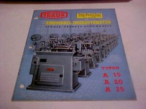 1956 Traub Einspindel drehautomaten Single Spindle Automatics Industrial Catalog