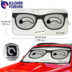 Big Glasses Foldable Jumbo Sun Shade Suv Front Window Car Visor Windshield Cover