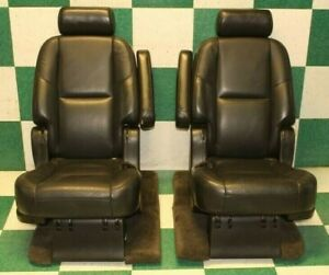 07 14 Escalade Black Leather Second 2nd Row Captain S Chairs Seats Trim Armrests