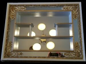 1957 Mid Century Modern Mirrored Shelves Shadow Box Windsor By Illinois Molding