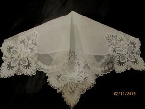 Vintage White Wedding Lace Linen Hanky 11 1 2
