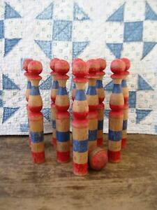Antique French Skittles Wood Toy Bowling Pins Original Blue Red Paint
