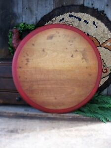 Primitive Antique Wood Bread Board Christmas Red Milk Paint Over Holly Green