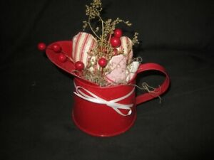Primitive Heart Gathering Red Watering Can With Red Hearts