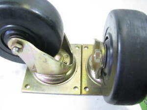 Pair Of 6 Bassick Swivel Plate Casters 7 1 2 Height 2 Wheel Width New