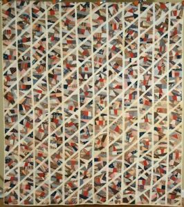 Unusual 1880 S Crazy Diamonds Antique Quilt Great Design Nice Early Fabrics