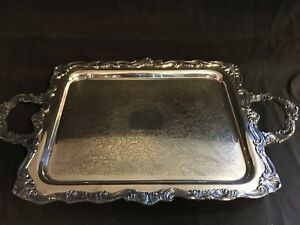 Antique Sheridan Footed Silver On Copper Ornate Handled Serving Tray